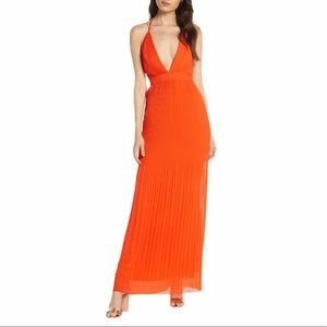 Fame and Partners 10 orange Caspian pleated maxi